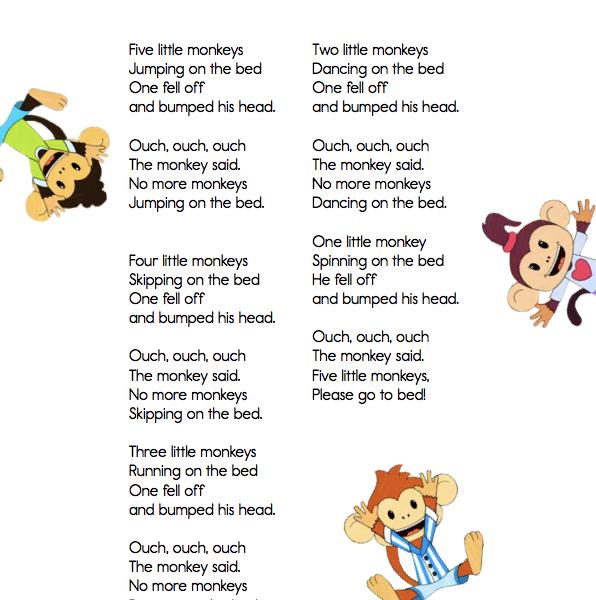 Classroom Classics Five Little Monkeys Lyric Sheet Elf Learning